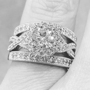 Jewelry - 3pc Engagement Ring with 2 wedding bands  size 7